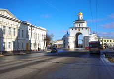 VLADIMIR, RUSSIA - February 16.2019 Golden Gate - The symbol of the ancient Vladimir City royalty free stock photography