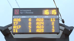 Vladimir, Russia - Nov 04, 2019: electronic informational led panel at bus stop