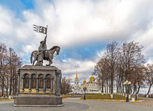 Vladimir, Russia - November 05.2015. The monument to St. Prince Vladimir and Fedor against the background of Assumption Cathedral Royalty Free Stock Images