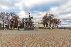 Vladimir, Russia - November 05.2015. The monument to St. Prince Vladimir and Fedor against the background of Assumption Cathedral Stock Photos