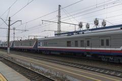 Vladimir, Russia - November 11.2016. Postal wagon at  train station Royalty Free Stock Photography