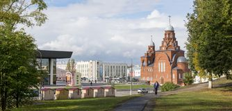 Theater Square of the city, with a complex of buildings on it. General view. Theater Drama, church and modern buildings. stock image