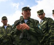 Vladimir Shamanov (C) (Commander-in-Chief Russian Airborne Troops) during Command post exercises with 98-th Guards Airborne Divisi Royalty Free Stock Photos