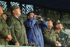 Vladimir Shamanov (L) (Commander-in-Chief Russian Airborne Troops) during Command post exercises with 98-th Guards Airborne Divisi Royalty Free Stock Image