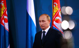 Vladimir Vladimirovich Putin. Prime Minister of Russia Vladimir Putin is speaking on the press conference with Serbian President Boris Tadic (not pictured ) on Stock Photo