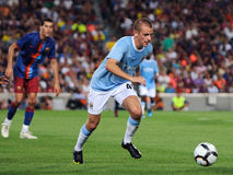 Vladimir Weiss, Manchester City player, plays against Barcelona Stock Images