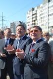 Vladimir Yakushev an der Eröffnungsfeier eines neuen Verkehrsschnitts auf Melnikayte St., Tyumen. Lizenzfreie Stockbilder