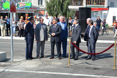 Vladimir Yakushev at official opening of a new traffic intersection on Melnikayte St., Tyumen. Royalty Free Stock Photography