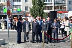 Vladimir Yakushev at official opening of a new traffic intersection on Melnikayte St., Tyumen. Stock Photo