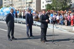 Vladimir Yakushev at official opening of a new traffic intersection on Melnikayte St., Tyumen. Royalty Free Stock Photography