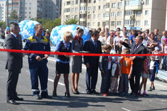 Vladimir Yakushev at official opening of a new traffic intersection on Melnikayte St., Tyumen. Stock Photos