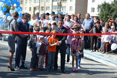 Vladimir Yakushev at official opening of a new traffic intersection on Melnikayte St., Tyumen. Stock Images