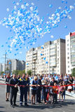 Vladimir Yakushev at official opening of a new traffic intersection on Melnikayte St., Tyumen. Royalty Free Stock Photo