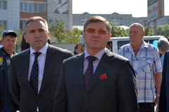 Vladimir Yakushev at official opening of a new traffic intersection on Melnikayte St., Tyumen. Royalty Free Stock Photos