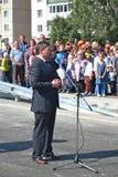 Vladimir Yakushev på den officiella öppningen av en ny trafikgenomskärning på Melnikayte St., Tyumen. Arkivbilder