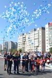 Vladimir Yakushev på den officiella öppningen av en ny trafikgenomskärning på Melnikayte St., Tyumen. Royaltyfri Foto