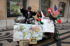 Yarets - first deaf person to make a round-the-world trip on a motorbike. Vladimir A. Yarets, 74, a native of Minsk Belarus, seriously believes his personality royalty free stock image