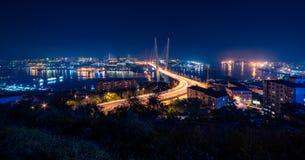 vladivostok причаленный взгляд корабля порта ночи Стоковое Фото