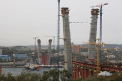 Vladivostok. Russia. Construction bridge across the Golden Horn (Zolotoy Rog). September, 2010 Royalty Free Stock Photo
