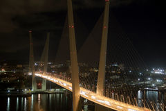 Vladivostok. Night view of the bridge in the Russian Vladivostok on the Golden Horn Royalty Free Stock Image