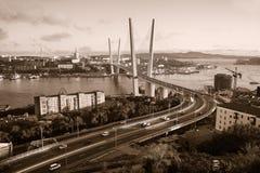Vladivostok bro Tonad Sepia Arkivbild