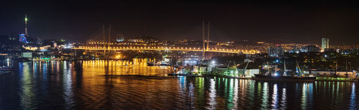 Vladivostok City's Bridge illuminated at night Royalty Free Stock Photo