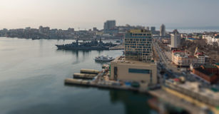Vladivostok cityscape. High point view. Tilt-shift effect Royalty Free Stock Images