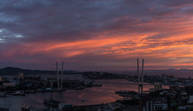 Vladivostok. Vladivostok cityscape, sunset view Royalty Free Stock Images