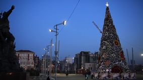Vladivostok on the eve of the New Year 2018. The central square of the city of Vladivostok with a Christmas tree dressed up. VLADI stock video footage