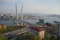 Vladivostok. Golden Bridge over the Zolotoy Rog bay royalty free stock photos