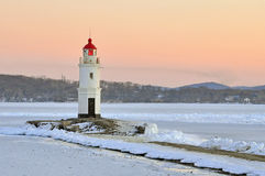 Vladivostok. The lighthouse Egersheld (1876) at the tip of the shkot Peninsula -Tokarevskaya koshka/ Russia Stock Photography