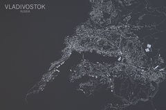 Vladivostok map, satellite view, Russia Royalty Free Stock Photos