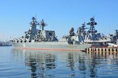 Vladivostok, October, 05, 2015. The flagship of the Pacific fleet guards missile cruiser Varyag Stock Photos