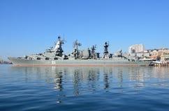 Vladivostok, October, 05, 2015. The flagship of the Pacific fleet guards missile cruiser Varyag Stock Image