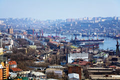 Vladivostok, port in the Golden Horn Bay Royalty Free Stock Photos