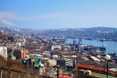 Vladivostok, port in the Golden Horn Bay. Vladivostok, view of the port in the Golden Horn Bay, Far East, Russia stock photos