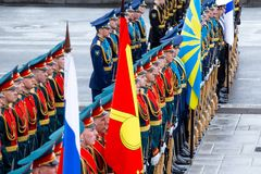 Soldiers of the honorary presidential guard of the Russian Federation. Vladivostok, Primorye Territory - April 26 - Soldiers of the honorary presidential guard royalty free stock photos