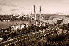 Vladivostok, puente Opinión de la luz del día Fotografía de archivo