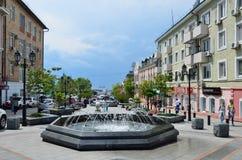 Vladivostok, Rosja, Czerwiec, 01, 2016 Ludzie chodzi na ulicie Admiral Fokin Fotografia Stock
