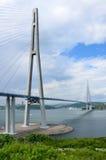 Vladivostok, Rusland, kabel-gebleven brug aan Russisch eiland Royalty-vrije Stock Afbeeldingen