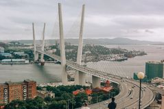 Vladivostok, Russia - August 15, 2015: Cable-stayed bridge in Vladivostok in the Golden horn Bay royalty free stock photos