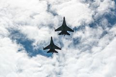 The newest multi-purpose fighter in the sky on annual military exhibition Russian Army 2018 on Central Uglovoe Aerodrome. VLADIVOSTOK, RUSSIA - AUGUST 26, 2018 royalty free stock images