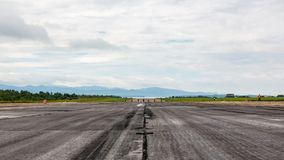 Runway strip on annual military exhibition Russian Army 2018 on Central Uglovoe Aerodrome. VLADIVOSTOK, RUSSIA - AUGUST 26, 2018: Runway strip on annual royalty free stock photos