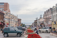 Vladivostok, Russia - circa August 2012: People, roads and streets of Vladivostok, Russia royalty free stock image