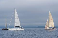 Vladivostok, Russia - circa August 2012: Regatta for Peter the Great Gulf Cup - sailed boat race in Vladivostok,  Russia Stock Photo
