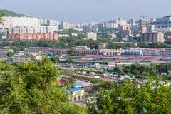 Vladivostok, Russia - circa July 2015: Panorama of Railroads and residential apartment buildings, Vladivostok,  Russia Stock Image