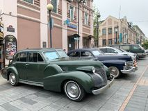 Vladivostok, Russia, May, 18, 2019. Exhibition of American retro-cars.  Cadillac series 60 1939 year and Cadillac series 62 1947ye. Vladivostok, Russia royalty free stock image