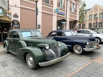 Vladivostok, Russia, May, 18, 2019. Exhibition of American retro-cars.  Cadillac series 60 1939 year and Cadillac series 62 1947ye. Vladivostok, Russia royalty free stock photo