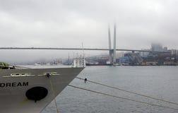 Vladivostok/Russia-04 02 2018: Guld- bro och skepp arkivbilder