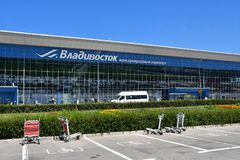 Vladivostok, Russia, July, 30,2018. Cars near of the airport Knevichi in Vladivostok in sunnny day. Vladivostok, Russia. Cars near of the airport Knevichi in stock photos